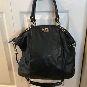 Coach Madison Black Leather Lindsey Bag